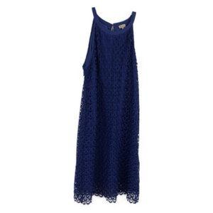 Cremieux Blue Lace Overlay Sleeveless Dress 12
